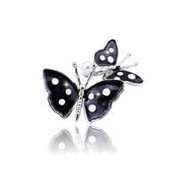 foulards blancs points noirs achat en gros de-Broche papillon noir rétro alliage papillon noir foulard boucle bijoux fantaisie perle broche femme mignonne broche cent pièces correspondantes