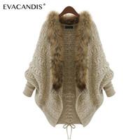 ingrosso ponticelli di pelliccia-Cardigan Sweater Women Fur Collar Knitted Long Coat Maniche a pipistrello Coreano inverno Khaki Jumper Winter Plus Size Maglione oversize