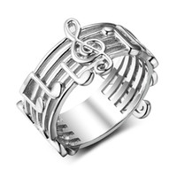 Wholesale musical rings for sale - Group buy Stainless Steel Musical Note Pattern Rings for Music Lovers Gift Women Wedding Band Jewelry US Size