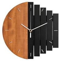 ingrosso orologi rustici a casa-Promozione! Orologio da parete in legno Design moderno Vintage orologio rustico squallido Quiete Art Watch Home Decoration A