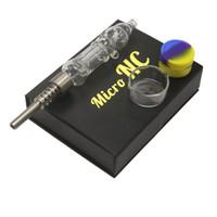 micro dab rig achat en gros de-Bongs en verre micro de l'eau de Nc avec les pipes en verre en verre de Bong en verre de bout droit de pointe de quartz de clou de titane 510 pour le tabagisme