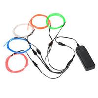 ingrosso kit di luce a filo-Kit di luci al neon EL Wire con portatile per la decorazione della festa di Natale di Halloween (colore casuale 5 per 5 metri) Multicolore opzionale