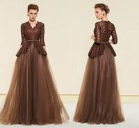 madre de chocolate marrón novia al por mayor-Elegante encaje marrón vestidos de noche 3/4 mangas largas de tul madre del vestido de novia árabe árabe vestido de fiesta