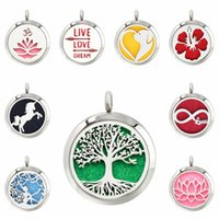 Wholesale lotus flower tree for sale - Group buy Poppy lotus flower tree of life mm Magnet Stainless Steel Diffuser Necklace Pendant Essential Oil Aromatherapy Perfume Pads no chain