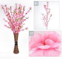 ingrosso fiore di prugna rossa-Artificiale Cherry Spring Plum Peach Blossom Branch Fiore di seta Albero per la decorazione della festa nuziale bianco rosso giallo rosa 5 colori