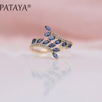 Wholesale brass horse jewelry for sale - Group buy PATAYA New Arrivals Exclusive Dark Blue Horse Eye Natural Zirconia Open Rings Women Luxury Rose Gold Wedding Jewelry Adjust