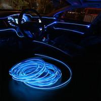 auto lâmpada decorativa venda por atacado-5 Metros Interior Car Lighting Auto Faixa de LED EL Wire Rope Auto Atmosfera decorativa Lâmpada de néon flexível Luz DIY (Varejo)