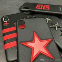 estojo de telefone para estrela venda por atacado-Metal estrela pentagonal design da marca do telefone móvel case para iphone xs max xr x 7 7 mais 8 8 plus 6 6 plus tampa traseira dura