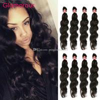 kraliçe insan bakire uzantıları saç toptan satış-Glamorous Malezya İnsan Saç Örgüleri Kraliçe Saç Ürünleri Perulu Hint Brezilyalı Avrasya Doğal Dalga Virgin İnsan Saç Uzantıları 4 Adet