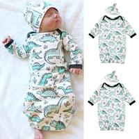 ingrosso vendite pigiami baby-Vendita calda 2 Pz Newborn Sleepwear Robes Infantile Neonate Boy Cartoon Dinosauro Pigiama Abito Swaddle Abiti
