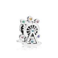 caixas de rodas venda por atacado-Authentic 925 Sterling Silver Color CZ diamante Ferris roda encantos caixa Original para Pandora Bead encantos para jóias fazendo acessórios