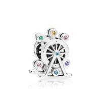 925 silbernes rad großhandel-Authentische 925 Sterling Silber Farbe CZ Diamant Riesenrad Charms Original Box für Pandora Bead Charms für Schmuckherstellung Zubehör