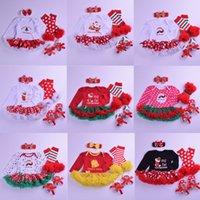 roupas de natal venda por atacado-Roupa de Natal meninas Define 21 cores dos desenhos animados Stripe Dot Impresso Jumpsuit Bow Shoes saia de renda com alça pé quente 4pcs Outfits 0-2T 04