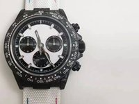 dual digital analoguhr großhandel-DTN montre Luxus Kohlefaser gemusterten Fall dual Saphirspiegel Lederband 7750 Timing Bewegung Uhren Designer Uhren