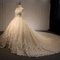 Wholesale gorgeous ball gown long wedding dress for sale - Group buy 2019 Gorgeous Lace Appliques Ball Wedding Dress Champagne Cathedral Train Bridal Gown Long Train Custom Size Formal Occasion