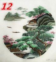 ingrosso opere di ricamo cinese-Paesaggio doppio lato cinese etnico ricamo a mano funziona rotondo 20 cm usato per abbigliamento borsa mano ventilatore appeso pittura decorazione ornamenti