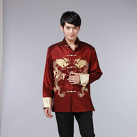 8 Color Chinese Shirt Traditional Chinese Clothing for Men Top Men Tang Suit Dragon Satin Long Sleeve Costume