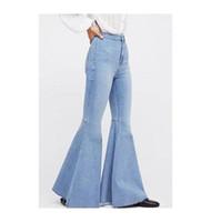 tramo de campana al por mayor-2019 nuevo jean para mujer pantalones de gran tamaño pantalones acampanados Pierna ancha Pantalones Vaqueros Ultra Estirados Pantalones Vaqueros con parte inferior de campana Mid Rise 90s Stretch Denim
