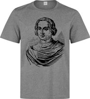 impresiones de obras de arte famosas al por mayor-Christoper Columbus Famoso Italian Explorer Black Artwork camiseta gris para hombreBrand camisas jeans Imprimir