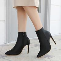 zapatos de vestir de satén negro al por mayor-10.5 cm negro tacones altos mujer botas vestido punk calcetín botas de invierno de las mujeres señoras punta estrecha Botas para mujer primavera otoño botas