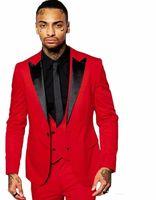 hommes blazer rouge revers noir achat en gros de-Slim Fit Red Gux Smokings Black Peak Lapel Groomsmen Robe de mariée pour homme Excellent Jacket Blazer 3 Piece Suit (veste + pantalon + veste + cravate) 1663