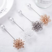 Wholesale flower brooches for sale - Group buy Hot Sale Classic Pearls Flowers Brooches New Long Crystal Needle Pins Female Personality Elegant Brooch Cardigan Accessories