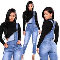 jeans pantalones largos chicas al por mayor-Moda largo rasgado El traje de las mujeres con agujeros Stretch Denim Jeans Monos flaco Pantalones chicas asequible K-004
