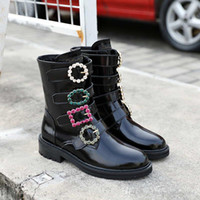 Wholesale thick sole round toe boots for sale - Group buy 2020 Crystal diamond buckle Boots Fashion Designer Women Platform Luxury Casual Flats Thick Sole Genuine Leather Boots Size