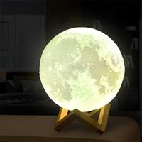 proyectores de luz de la habitación del bebé al por mayor-Lámpara de luna recargable USB de impresión 3D 16 colores cambiables LED Luz de luna nocturna Interruptor táctil creativo Luz de luna para decoración del hogar Luces de regalo