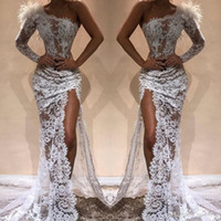Wholesale white feather pageant dress for sale - Group buy White Full Lace Mermaid Evening Dresses Side Split Sexy One Shoulder See Through Feather Prom Pageant Celebrity Gowns Arabic