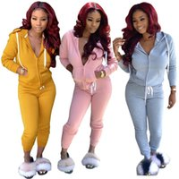 Wholesale pink ice clothing for sale - Group buy Women cardigan outfits hoodie outerwear coat fashion zipper tops sports suit autumn winter solid women clothes casual piece set klw2426