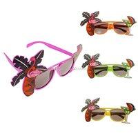 óculos fantasia vestido venda por atacado-Flamingo Partido Óculos de abacaxi Havaiano Praia de Cerveja Óculos de Sol Cosplay Noite Palco Fancy Dress up Óculos Máscara Crianças óculos de sol C6798