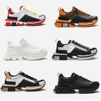 kauçuk kadın gerçek toptan satış-2019 Süper Kral sneakers erkek tasarımcı ayakkabı 100% gerçek Deri Sorrento Sneakers iki tonlu kauçuk taban kadın Rahat Ayakkabılar Eğitmenler US4-12