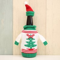 Wholesale knitted wine bottle covers resale online - 1 set Cute Wine Beer Bottle Sweater Bag Joy Snowman Knitting Hats Cover Xmas Home Dinner Party Christmas Tree Decorations YWHB29
