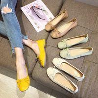 zapatos de diseño mariposa al por mayor-Zapatos Pedal One Dawdler Flat Wild2019 Foot La más alta calidad Cómoda Butterfly Section Design Autumn Single Shoe