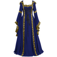 ingrosso vestito femme plus size-Plus Size Summer Dress Women 2019 Vintage Celtic Medioevale Lunghezza del pavimento Rinascimentale Gothic Cosplay Dress donne veste femme