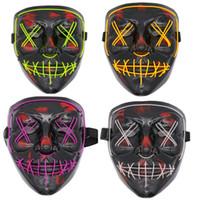 halloween furchtsame geschenke großhandel-Party EL Led Maske Mascara Glow In The Dark Maske Leuchten Scary Schädel Maske Party Festival Cosplay Halloween Brithday Geschenk