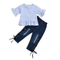 Wholesale toddler striped t shirt resale online - Summer Toddler Kids Baby Girls Denim Outfits Cotton striped Butterfly Half Sleeve T shirt Tops Denim Pants set Jeans Clothes Set M1687