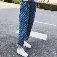 ingrosso gambe larghe di jeans blu della donna-2018 Jeans vintage da donna per le donne Pantaloni casual in denim con gamba larga Pantaloni blu chiaro e blu chiaro