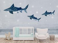 Wholesale whale decor resale online - Custom Size D Photo Wallpaper Mural Hand painted Dream Whale Picture Kids Room Sofa TV Backdrop Mural Home Decor Creative Hotel Wallpaper
