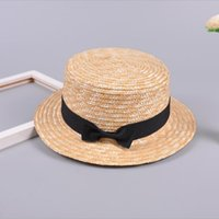 Wholesale flat summer straw hat online - Girls Straw Bowknot Beach Hat cute Sunshade Gangster Cap casual hat colorful types outdoor travel Female Ribbon Round Flat Top QQA371