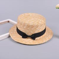 sevimli kız daireleri toptan satış-Kızlar Straw Ilmek Plaj Şapka sevimli Güneşlik Gangster Kap rahat şapka renkli türleri açık seyahat Kadın Şerit Yuvarlak Düz Üst QQA371