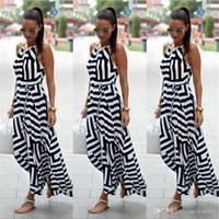 modern straight dress venda por atacado-Vestido de verão Mulheres Sexy Boho Listrado Sem Mangas Maxi Vestido Longo Praia Estilo Strap Sundress Vestidos Para Feminino 987428