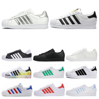 Wholesale women flat fashion canvas shoes resale online - Designer Superstars White Black Green Blue Gold Superstars s Pride Flat Sneakers Super Star Fashion Women Men Casual Shoes Size