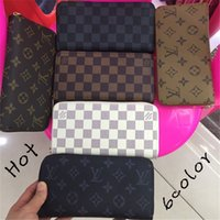 Wholesale mens wallet cell phone holder resale online - Hot sale and branded fashion ladies single zipper cheap Wallets card Holders mens womens pu leather wallet lady ladies long purse