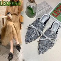 sapatos de design de borboleta venda por atacado-Chinelos de cristal de prata mulheres apontou toe bling bling mulas de strass sapatos famosos Borboleta-nó design quadrado slides de calcanhar