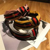 saç bantları toptan satış-9 Renkler Kadınlar Moda T Çizgili Bant Desen Baskı Saç Aksesuarları BFJ713 İçin Yeni Kış Kafa