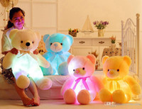 valentinstag teddybär geschenk großhandel-4 Farbe 80cm LED buntes glühendes Teddybärpuppen Riesenoberteil riesiges Teddybärspielzeug Valentinstagfeiertagsgeschenkbär Weihnachtsplüschspielwaren