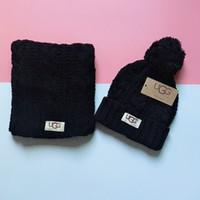 ingrosso set di sciarpe invernali-Moda sciarpa lavorata a maglia set sciarpa inverno ragazza cappello caldo Skullies marca capelli pesanti palla twist berretti colore tappi hip-hop GGA2545