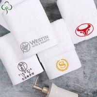 ingrosso asciugamani da golf in cotone-Asciugamano da bagno bianco personalizzato con logo personalizzato ricamato Set 100% cotone solido Home Take Hot Springs Sauna Spa Asciugamano Golf 600g / 500g / 400g 16/32 Filato